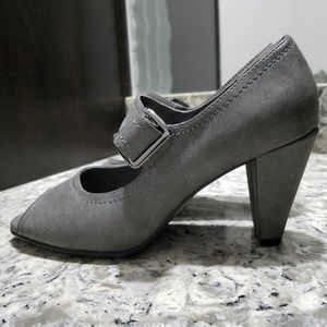 Shoes - GRAY FAUX LEATHER BUCKLE OPEN TOE SHOES